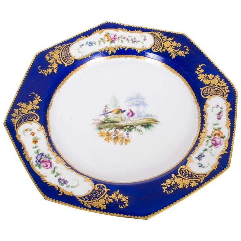 19th Century Sevres Porcelain Cobalt Blue Porcelain Plate For Sale
