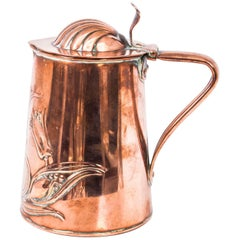 Antique Copper Arts & Craft Lidded Jug by J.S.&S