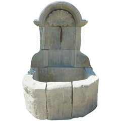 Ancient French Regence-Style Wall-Fountain Carved in Patinated Stone, Provence