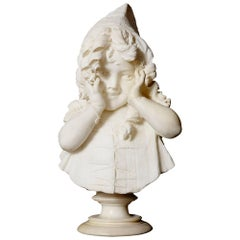 Antique Italian White Marble Bust of a Young Girl by Galleria Bazzanti