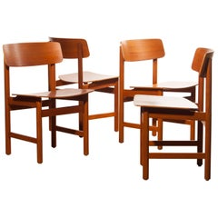 1960s, a Set of Four Teak Plywood Dining Chairs by Børge Mogensen Attributes