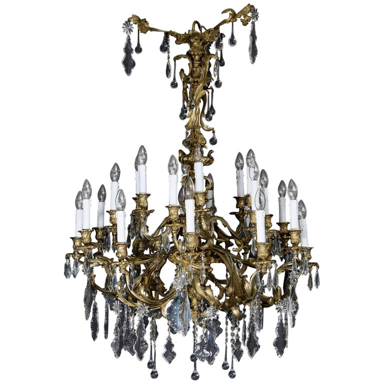 Antique French Chandelier in the Rococo Style, of Gilt Bronze and Cut-Glass For Sale