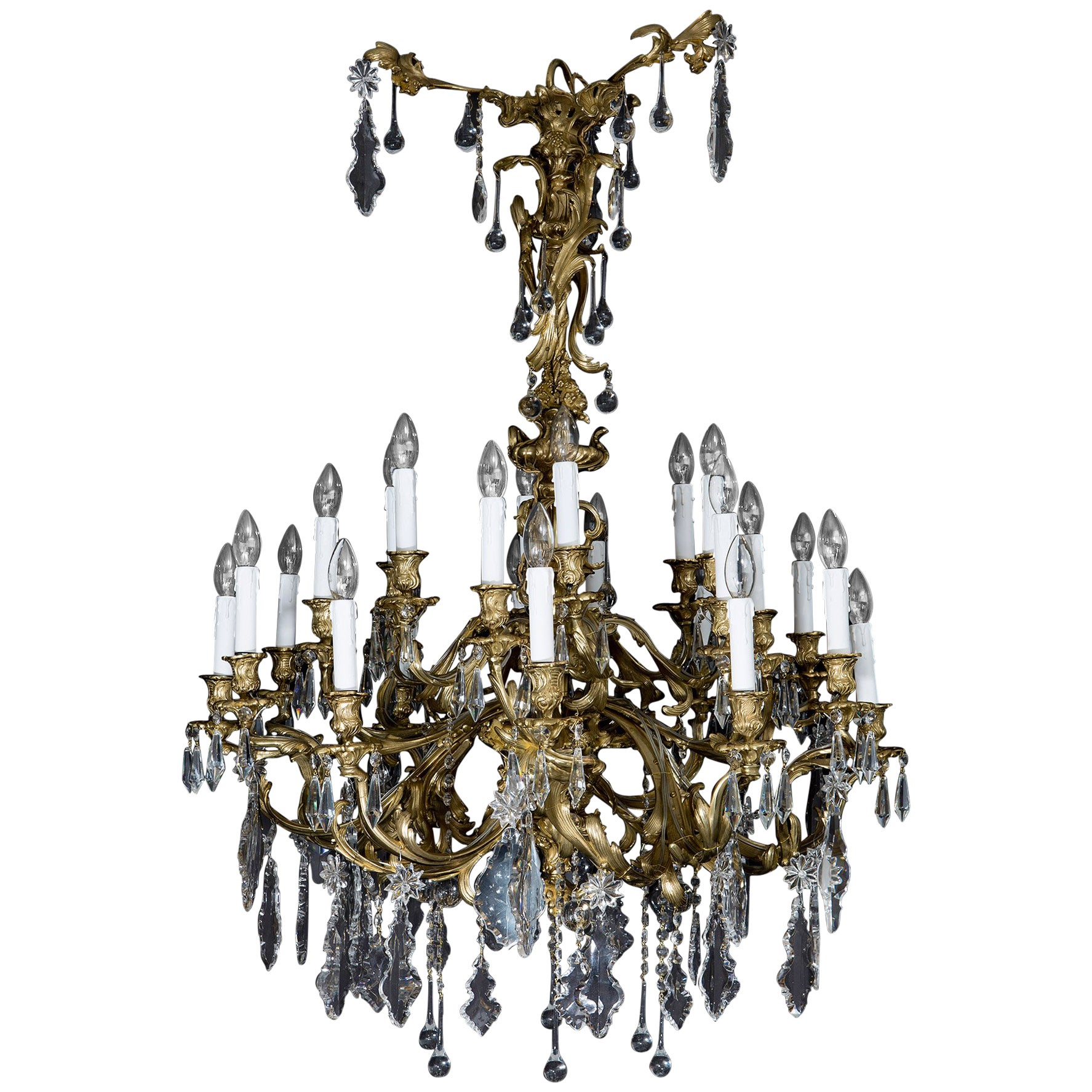 Antique French Chandelier in the Rococo Style, of Gilt Bronze and Cut-Glass