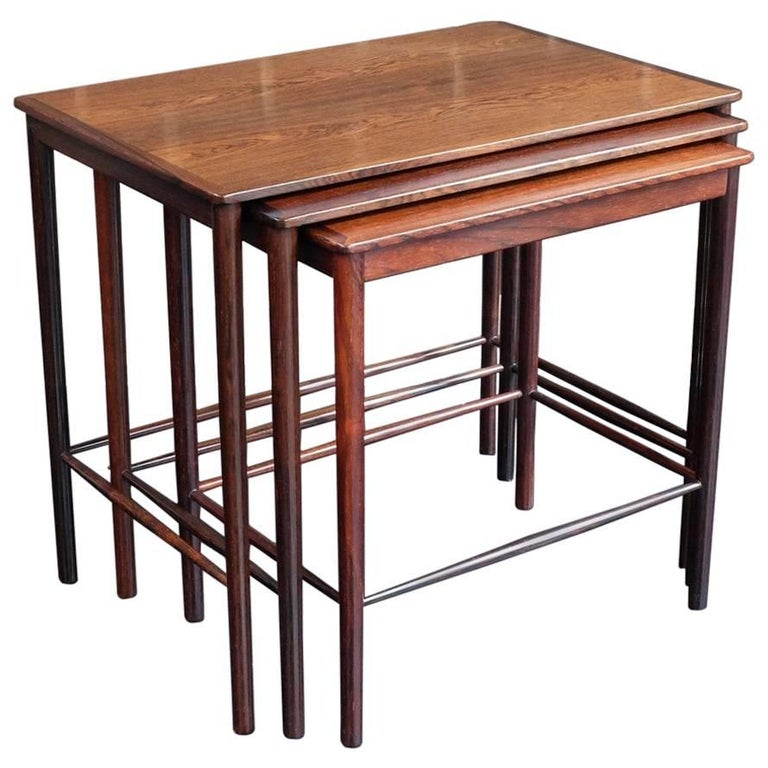 Danish 1960s Rosewood Nest of Tables by Kai Winding for Poul Jepessen For Sale