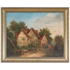 Antique Victorian Oil on Canvas 'Back Home', circa 1880