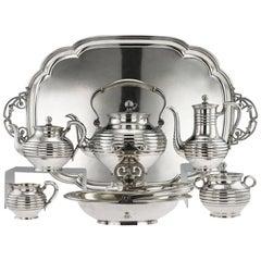19th Century Imperial Russian Solid Silver Tea Service, Sazikov, circa 1866
