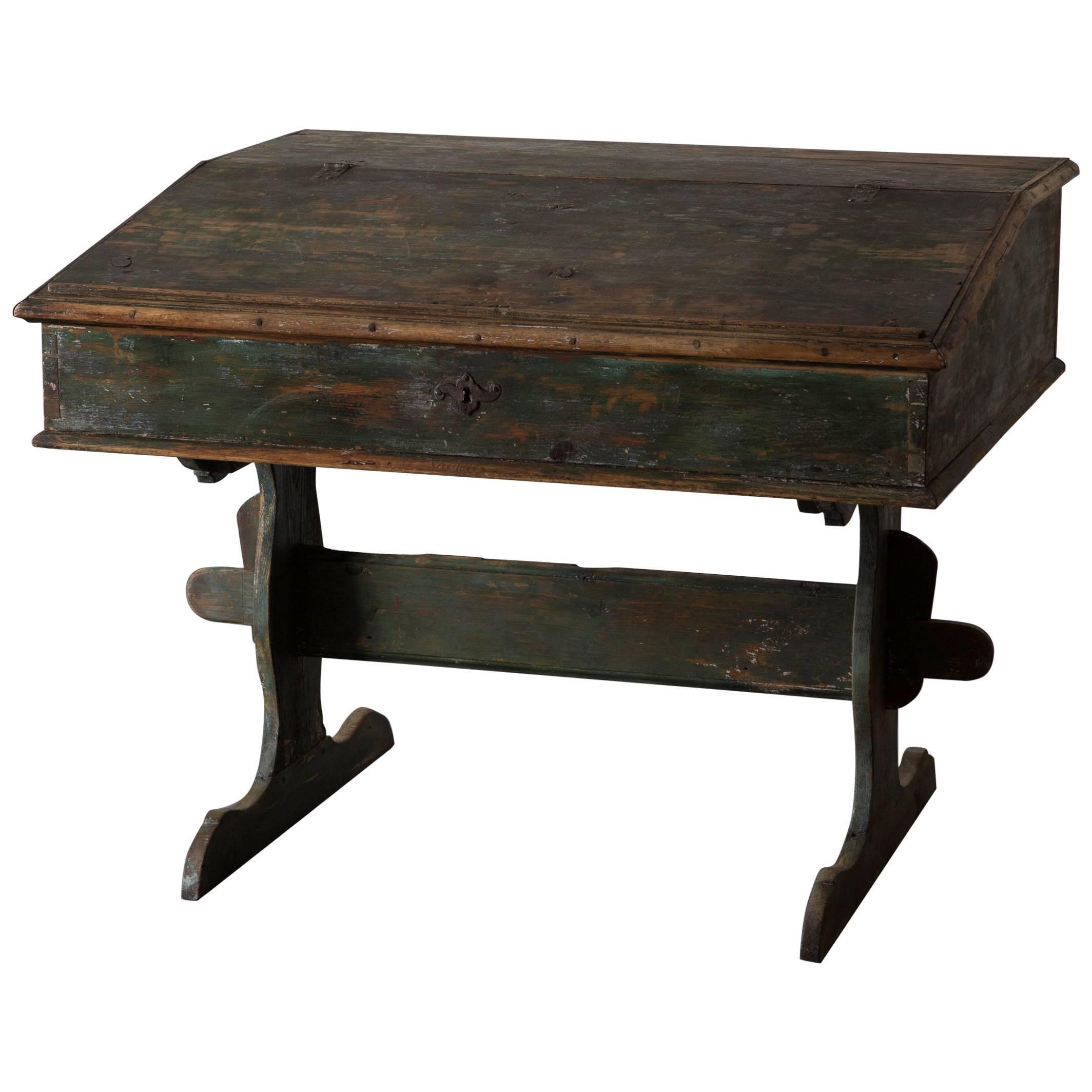 Desk Swedish 18th Century Green Original Paint Sweden