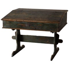 Desk Swedish 18th Century Green Original Paint Sweden