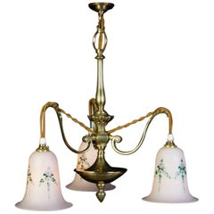 Early 20th Century Art Nouveau 3 Light Brass Chandelier