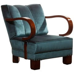 1920s, Art Deco Blue Velvet Club Chair