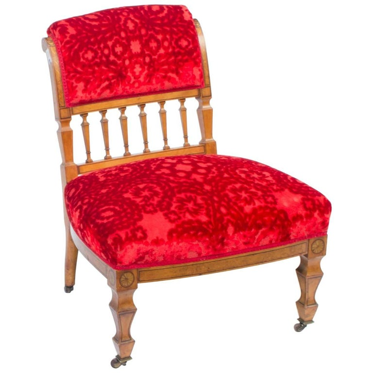 19th Century Victorian Satinwood Nursing Chair For Sale