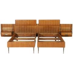 matrimonial bed by silvio cavatorta teak veneer brass glass italy 1950s 1960s - Mid Century Modern Bed Frame