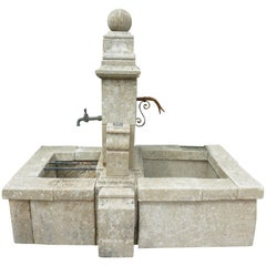 Elegant Ancient Garden Fountain Handcrafted in Stone with Two Basins, Provence