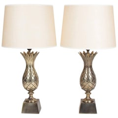 Pair of Brass Pineapple Table Lamps, American, 1960s