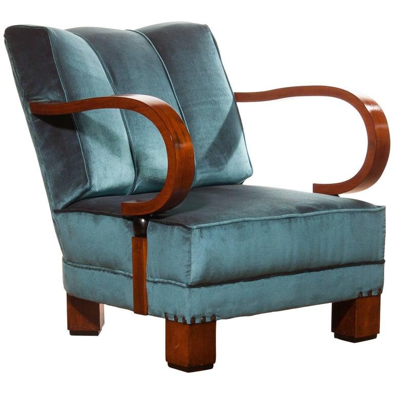 1920s art deco blue velvet club chair for sale at 1stdibs. Black Bedroom Furniture Sets. Home Design Ideas