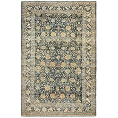Blue Gray Background Antique Tabriz Persian Rug