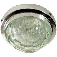 Lamp Attributed to Fontanaarte Chromed Metal Crystal Vintage, Italy, 1960s