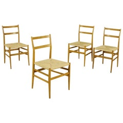 Leggera Chairs by Gio Ponti Ashwood Raffia, Italy, 1950s-1960s