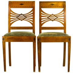 Swedish Biedermeier Karl Johan Birchwood Side Chairs, circa 1830-Provenance