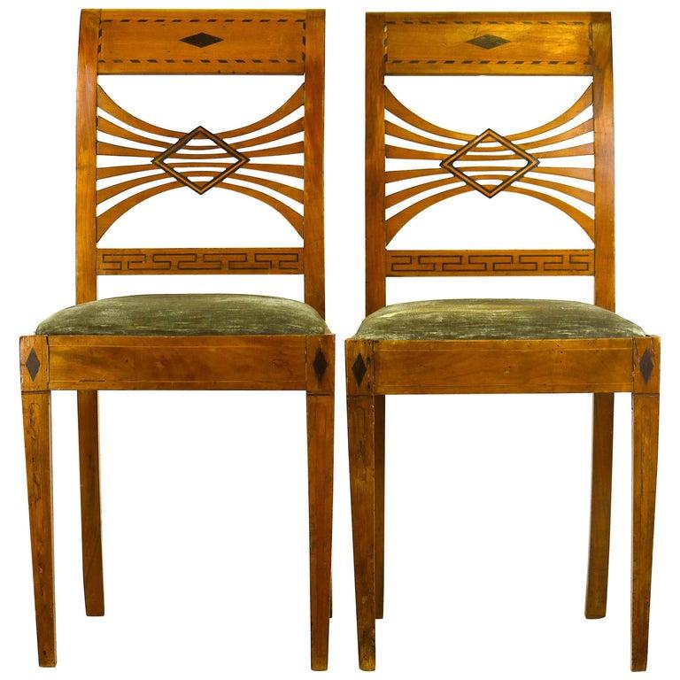 Pair of Biedermeier Period Ebonized Fruitwood Side Chairs, 19th Century