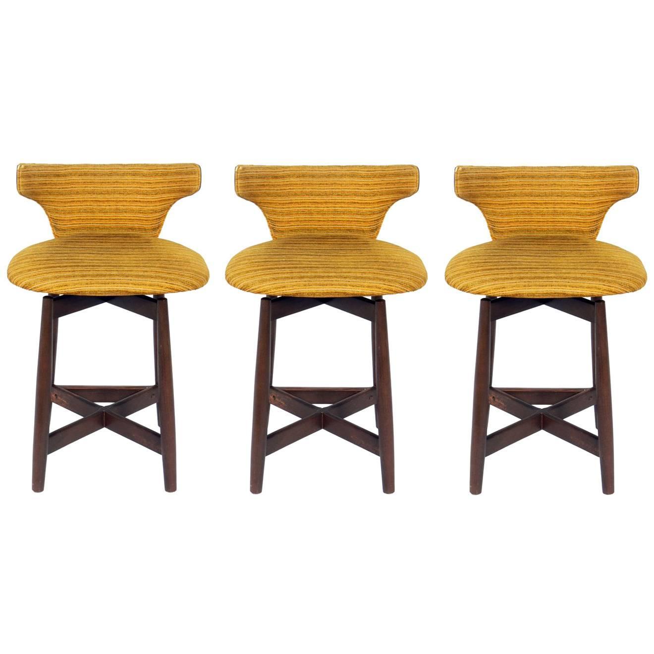 Set of Three Curvaceous Low Slung Walnut Bar Stools