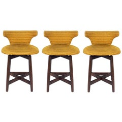 Set of Three Curvaceous Low Slung Walnut Bar Stools