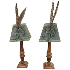Pair of Edwardian Mahogany Table Lamps