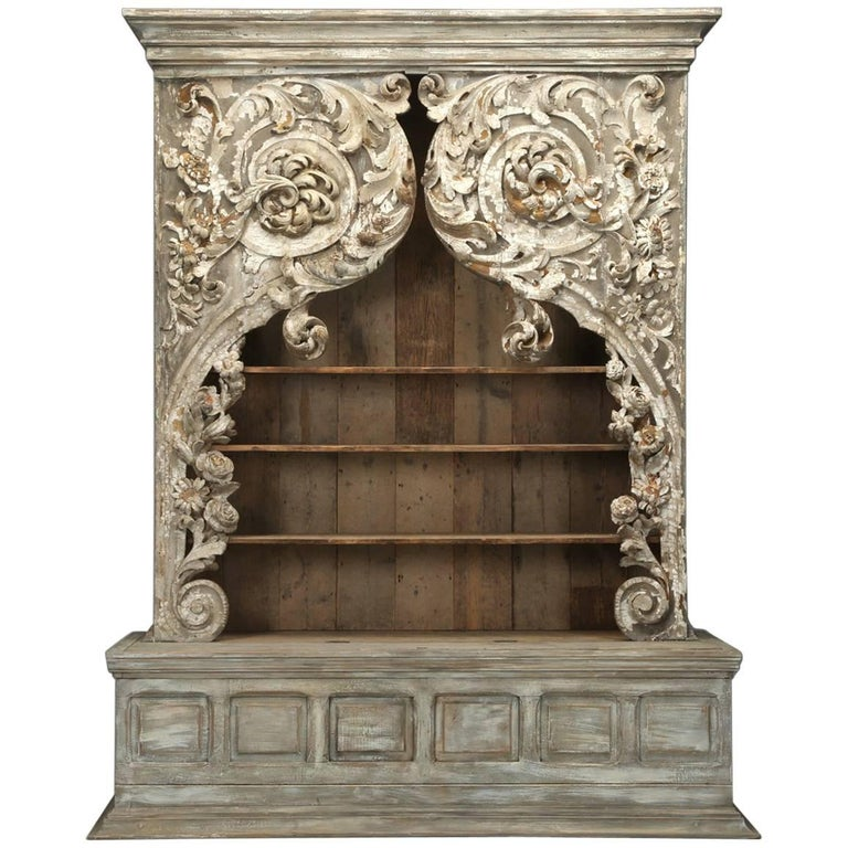 Antique Italian Rococo Bookcase or Cabinet For Sale