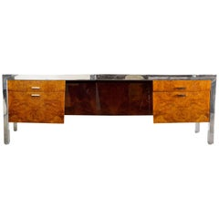 Leon Rosen for Pace Collection 1970s Burl Wood Credenza