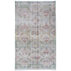 Vintage Turkish Art Deco Rug with All-Over Vining Flowers Design in Lavender