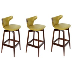 Set of Three Curvaceous Walnut Modern Bar Stools