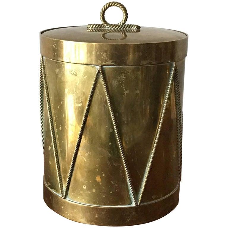 Vintage Italian Brass Drum Ice Bucket 1