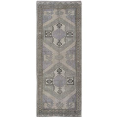 Mid-Century Turkish Oushak Vintage Runner with Dual Medallions in Lavender, Gray