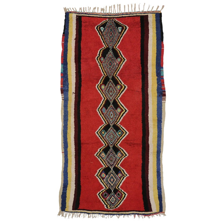 Vintage Berber Moroccan Red Rug with Modern Tribal Design