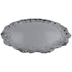 English Sterling Silver Salver Tray with Georgian Shell and Scroll Rim