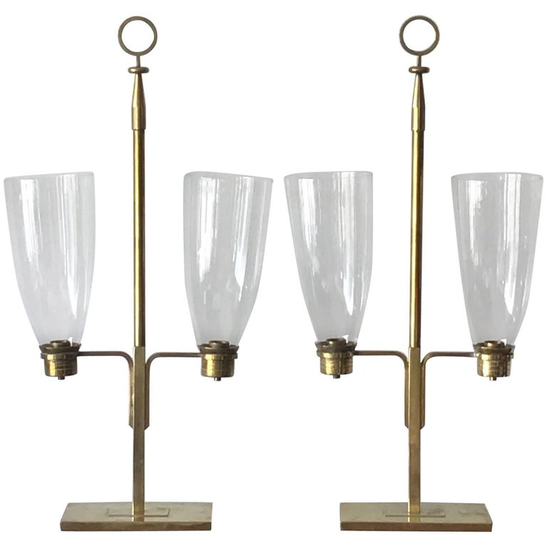 Pair of Tommi Parzinger Hurricane Lamps For Sale