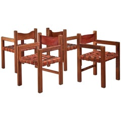 Set of Four Studio Crafted Leather Webbed Chairs, USA, 1950s