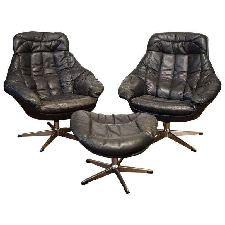 Pair of Black Leather Lounge Chairs with Ottoman by H.W. Klein for Bramin Mobler