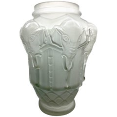 Frosted Art Deco Elephant Vase by Edmond Etling, after Lalique, circa 1930