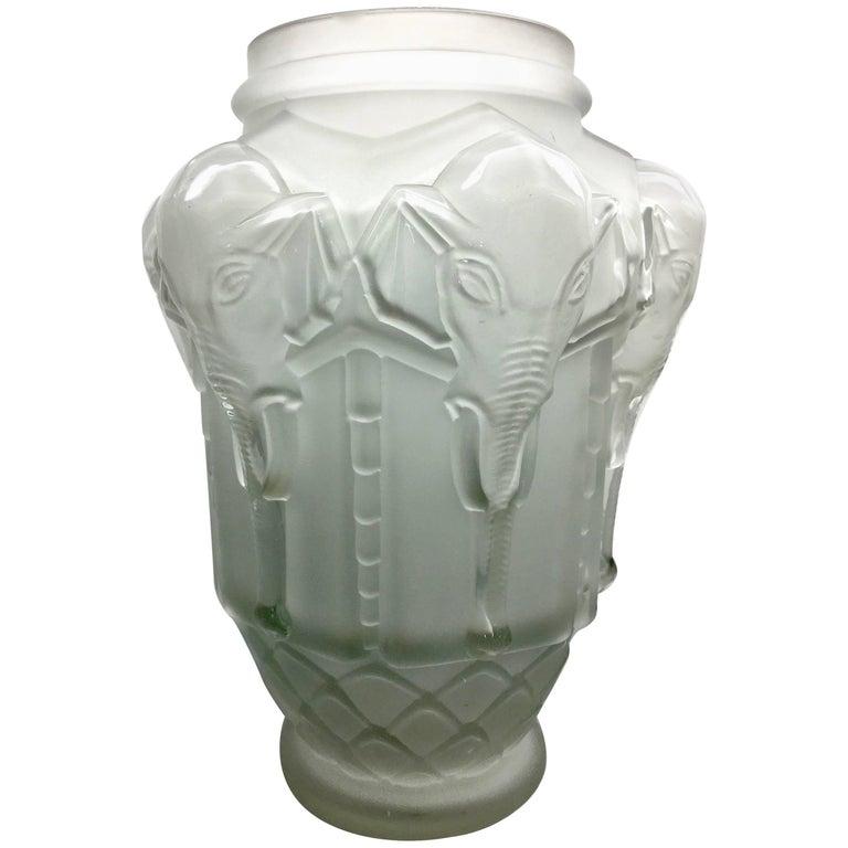 Frosted Art Deco Elephant Vase By Edmond Etling After Lalique