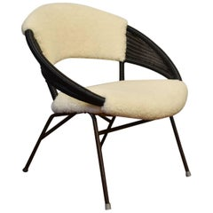 Vintage Danish Black Rattan and Faux Fur Chair
