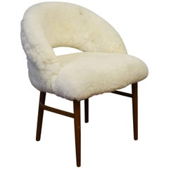 Exquisite Mid-Century Accent or Vanity Chair in Lambsfur by Frode Holm