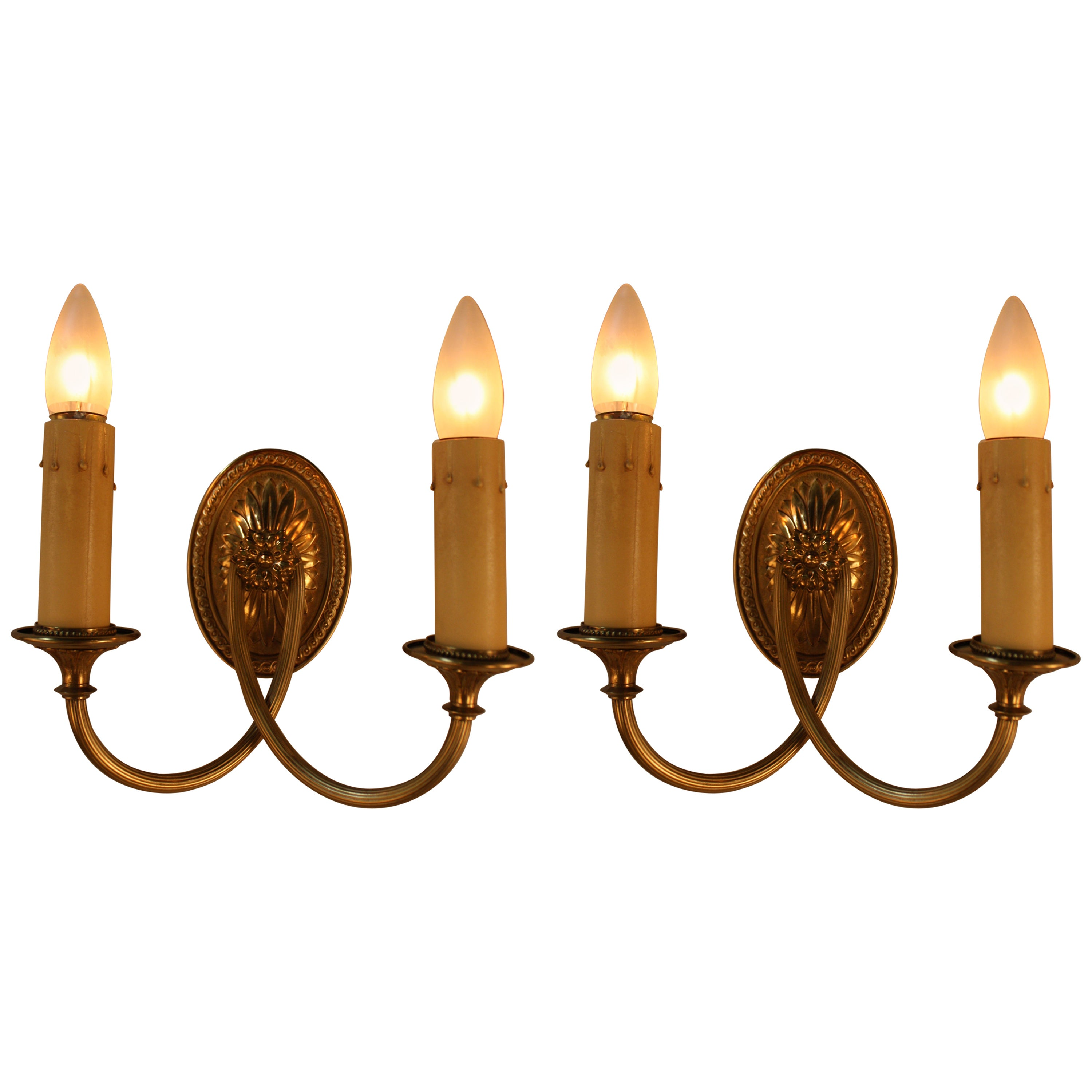 Pair of American Bronze Wall Sconces by Sterling Bronze Co