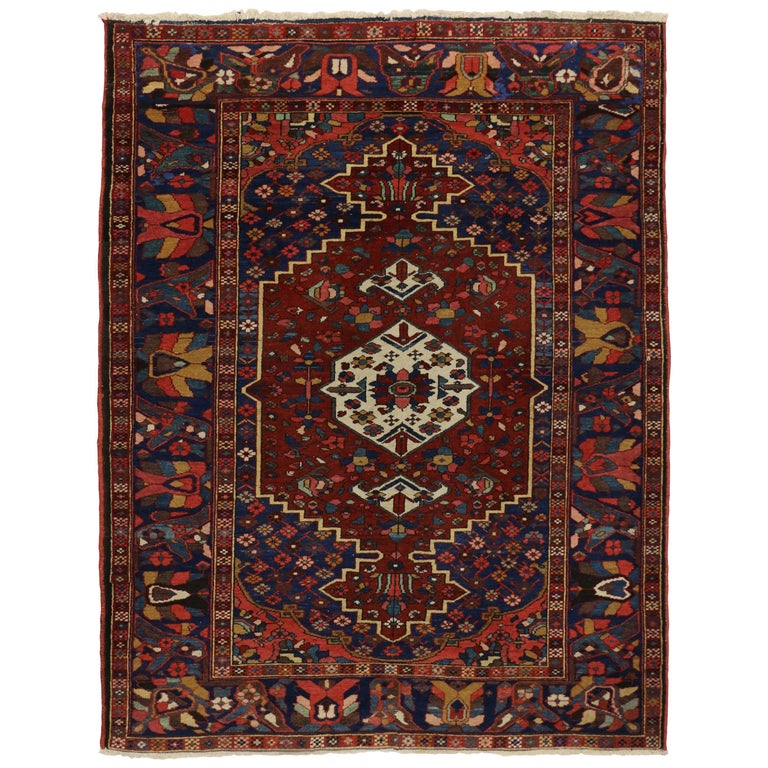 Antique Bakhtiari Persian Rug With Traditional Modern