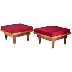 Pair of Plywood Studio Craft Ottomans, USA, 1940s