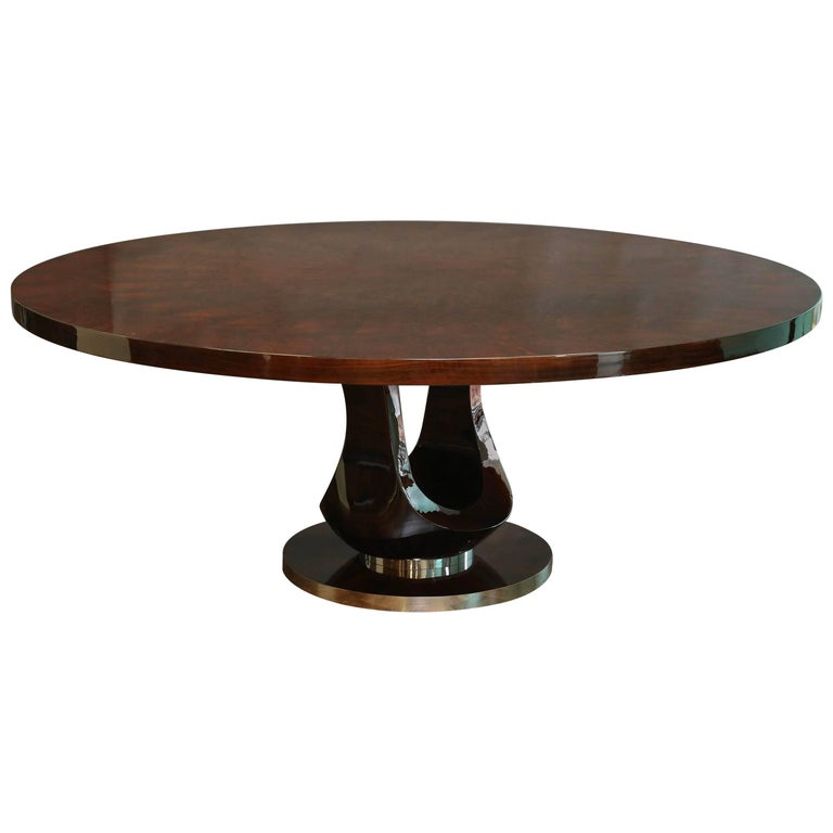 Art Deco French Round Dining Room Table In Walnut For Sale