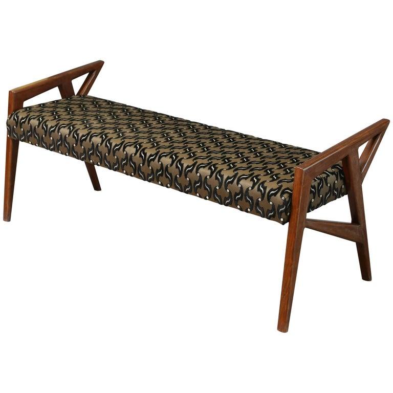 Art Deco Hungarian Bench in Walnut