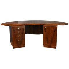 French Art Deco Desk in Walnut