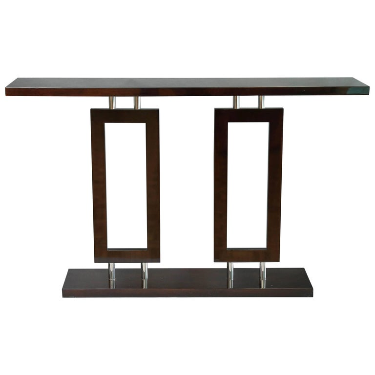 Italian Mid-Century Console in Palisander Wood with Chrome For Sale