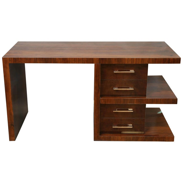 Art Deco Desk in Walnut attributed to Jean Royère